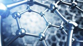 3d illusrtation of graphene molecules. Nanotechnology background illustration. vector illustration