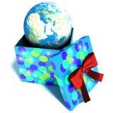 有里面行星地球的礼物盒,旅行的概念 3d illust 免版税库存照片
