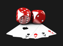 3d Illustartion of casino dices and play card. isolated black Royalty Free Stock Images