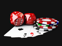 3d Illustartion of casino Dices, Play Card and Poker Chips. isolated black Royalty Free Stock Images