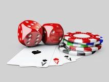 3d Illustartion del casinò taglia, carta del gioco e chip di poker Bianco isolato Fotografia Stock