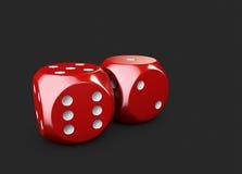 3d Illustartion kasyno dices Odosobniony czerń Obrazy Royalty Free
