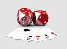 3d Illustartion kasyno i sztuki karta dices Odosobniony biel Zdjęcie Stock
