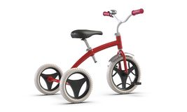 3D illustrate of Children`s tricycle pink bicycle isolated on white background. 3D illustrate of Children`s tricycle bicycle isolated on white background royalty free illustration