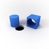 3D Illustrated Blue Square Peg Cylinder and a Round Hole on a Bright White Background. Stock Photo