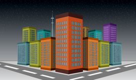 3D Illustrated City skyscraper buildings with snowfall scene.  Royalty Free Stock Photo