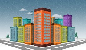 3D Illustrated City skyscraper buildings with snowfall scene Royalty Free Stock Photos