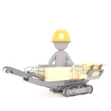3D illustrated construction worker sits in machine Stock Photography