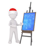 3D illustrated figure wearing santa hat gestures Stock Photo