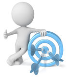 3D illustrated man leaning on target. 3D computer generated illustrated man leaning on blue and white target with darts giving thumbs up gesture Royalty Free Stock Images