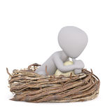 3D illustrated man seated in enormous nest. And clutching huge birds egg vector illustration