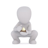 3D illustrated man squats while holding egg Royalty Free Stock Photography