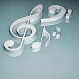3d illustrated musical symbols. 3d illustration of notes and musical symbols Royalty Free Stock Photography