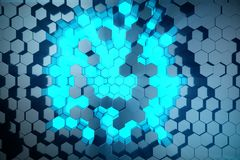 3D illustratie Abstract blauw van futuristisch oppervlakte hexagon patroon met lichte stralen Blauwe tint hexagonale achtergrond Stock Afbeeldingen