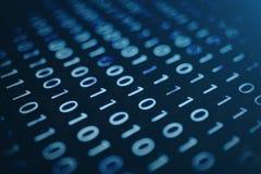 3D illustratie binaire code inzake blauwe achtergrond Bytes van binaire code De technologie van het concept Digitale Binaire Acht royalty-vrije illustratie