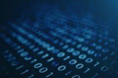 3D illustratie binaire code inzake blauwe achtergrond Bytes van binaire code De technologie van het concept Digitale Binaire Acht vector illustratie