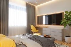 3d illustratie, concept van het slaapkamer het binnenlandse ontwerp Visualisatie van het binnenland in de Skandinavische architec stock illustratie