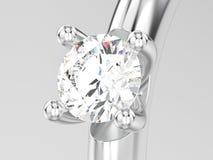 3D illustratie dicht omhooggaand witgoud of zilveren patience engageme Royalty-vrije Stock Foto