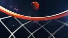 3D illustratie die van Basketbalbal in een hoepel vallen Stock Afbeeldingen