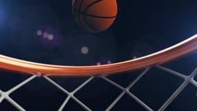3D illustratie die van Basketbalbal in een hoepel vallen Royalty-vrije Stock Foto