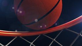 3D illustratie die van Basketbalbal in een hoepel vallen Royalty-vrije Stock Afbeelding