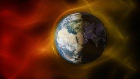 3d illustratie die van zonnewind met aarde` s magnetisch veld in botsing komen Stock Afbeeldingen