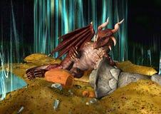 3D Illustratie Dragon Treasure Stock Foto's