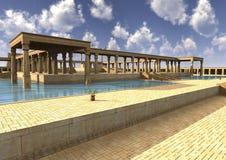 3D Illustratie Egyptisch Paleis Stock Afbeelding