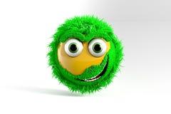 3D Illustratie, Gele Emoticon met groen Haar royalty-vrije stock afbeelding