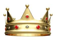 3D illustratie, gouden die kroon op wit wordt ge?soleerd vector illustratie