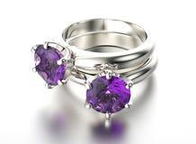 3D illustratie gouden ring met ultraviolette halfedelsteen Juwelenbedelaars Stock Foto