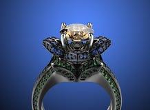 3d illustratie gouden ringen Maniertoebehoren juwelen Stock Fotografie