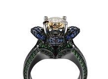 3d illustratie gouden ringen Maniertoebehoren juwelen Royalty-vrije Stock Afbeelding