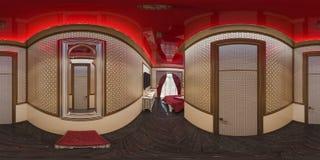 3d illustratie 360 graden panorama van zaal Stock Foto's