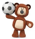 3d illustratie grappige bruin draagt stuk speelgoed met voetbalbal Stock Afbeeldingen