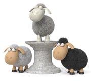 3d illustratie grappige schapen Stock Foto