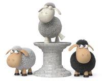 3d illustratie grappige schapen Stock Afbeeldingen