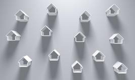3D Illustratie - Grey Background met enkelen wit huis silhoue Stock Afbeeldingen
