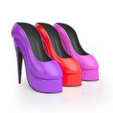 3D Illustratie Groep de gekleurde schoenen van vrouwen Stock Afbeelding