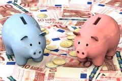 3d illustratie: het blauwe en roze spaarvarken met de centen van kopermuntstukken ligt op de achtergrond van bankbiljet tien Euro Stock Foto