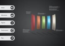 3D illustratie infographic malplaatje met vijf misvormde horizontaly geschikte cilinders Royalty-vrije Stock Foto