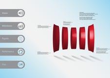 3D illustratie infographic malplaatje met vijf misvormde horizontaly geschikte cilinders Royalty-vrije Stock Foto's