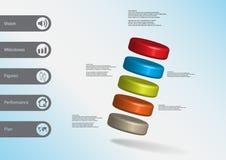 3D illustratie infographic malplaatje met vijf scheef geschikte cilinders Vector Illustratie
