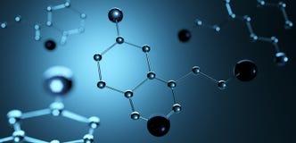 3D Illustratie Model van serotoninemolecule, Hormoon van Geluk Stock Illustratie