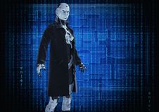 3D Illustratie Modieuze cyborg de vrouw vector illustratie