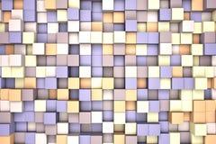 3d illustratie: mozaïek abstracte achtergrond, gekleurde blokkenpurple - bruin viooltje - - beige kleur Waaier van schaduwen Muur Royalty-vrije Stock Foto's