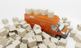 3D Illustratie Onnauwkeurige pakket behandeling en levering Hoop van dozen en rode bestelwagen Witte achtergrond stock illustratie
