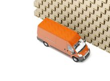 3D Illustratie Onnauwkeurige pakket behandeling en levering Hoop van dozen en rode bestelwagen Witte achtergrond vector illustratie