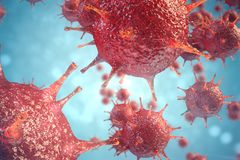 3d illustratie pathogene virussen die besmetting in gastheerorganisme veroorzaken, Virale ziekte-uitbraak, virus abstracte achter stock illustratie