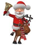 3d illustratie Santa Claus die op rendier met een klok berijden Stock Foto